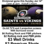 SAINTS VS VIKINGS this Sunday 1/14